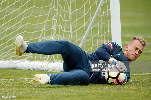 Victory goalkeeper Lawrence Thomas takes part during a Melbourne Victory training session at AAMI Park on November 15 2016 in Melbourne Australia