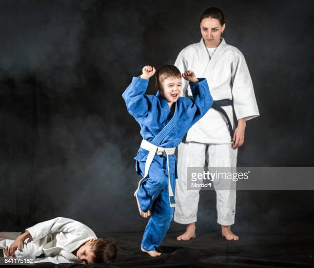 Victory In Training Judo Fight