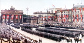 Victory Parade Berlin 1940 Troops are marching through Brandenburg Gate 18th July 1940 The Nazis are celebrating the victory in Poland and the fall...