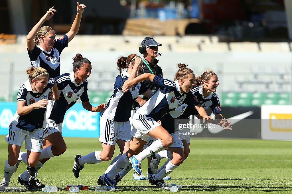 Victory players celebrate after Jessica McDonald kicked the winning penalty during the W-League Semi Final match between Perth Glory and Melbourne Victory at nib Stadium on January 20, 2013 in Perth, Australia.
