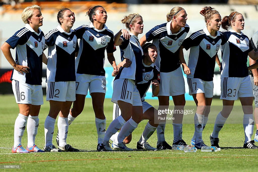 Victory players look on in the penalty shoot-out during the W-League Semi Final match between Perth Glory and Melbourne Victory at nib Stadium on January 20, 2013 in Perth, Australia.