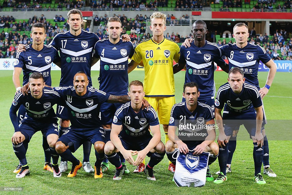 Victory players pose during the AFC Champions League match between Melbourne Victory and Gamba Osaka at AAMI Park on May 3, 2016 in Melbourne, Australia.