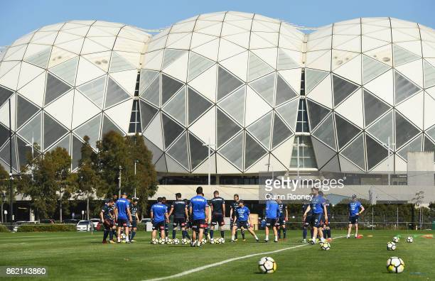 Victory players warm up during a Melbourne Victory ALeague training session at Gosch's Paddock on October 17 2017 in Melbourne Australia