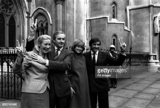 Victory signs for Tory MPs Neil Hamilton of Tatton and Gerald Howarth MP for Cannock and Burntwood with their wives Christine and Elizabeth after...
