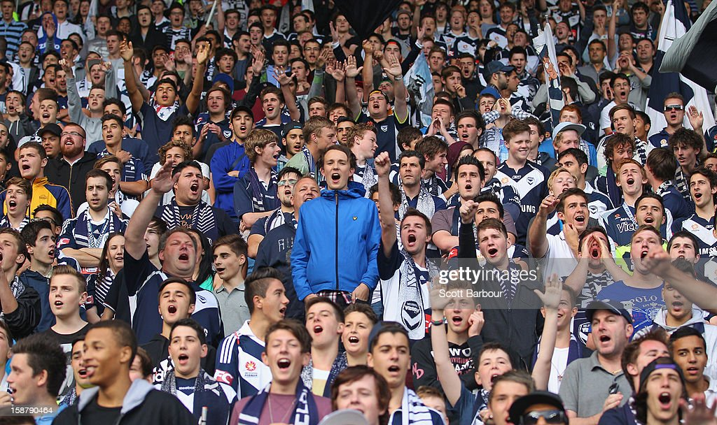 Victory supporters celebrate during the round 13 A-League match between the Melbourne Victory and the Newcastle Jets at AAMI Park on December 28, 2012 in Melbourne, Australia.