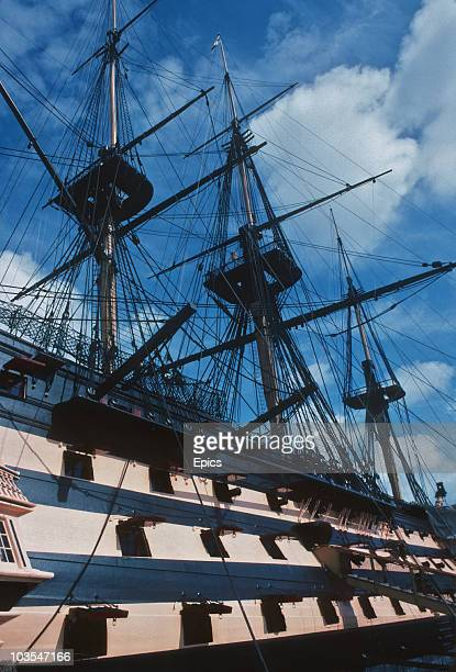 HMS Victory the flagship of Horatio Nelson which took part in the Battle of Trafalgar now permanently at Portsmouth Hampshire July 1987