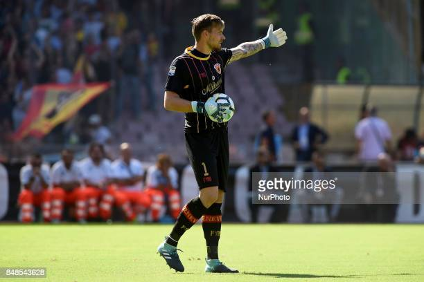Vid Belec of Benevento Calcio during the Serie A TIM match between SSC Napoli and Benevento Calcio at Stadio San Paolo Naples Italy on 17 September...
