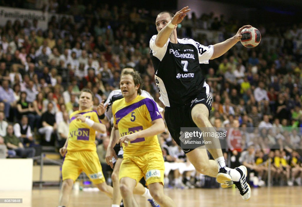 Vid Kavticnik of Kiel in action during the Handball Bundesliga match between Fuechse Berlin and THW Kiel at the MaxSchmeling hall on April 27 2008 in...