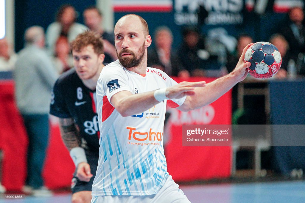 Vid Kavticnik of Montpellier Agglomeration Handball shoots a penalty during the game between PSG Handball and MAHB at Stade Pierre de Coubertin on...
