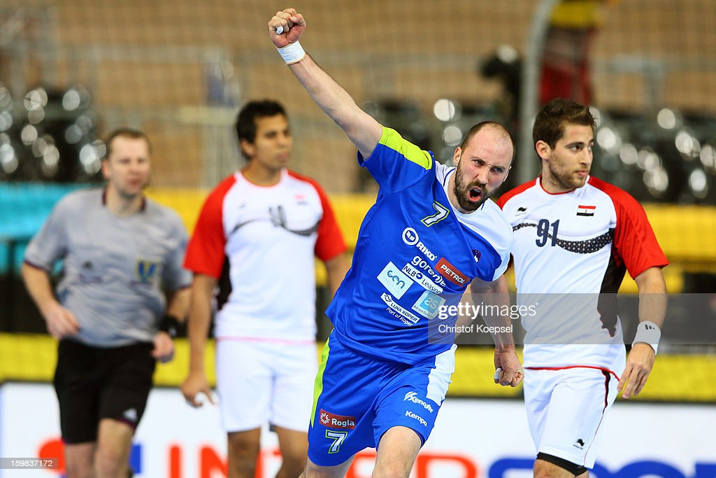 Vid Kavticnik of Slovenia celebrates a goal during the round of sixteen match between Slovenia and Egypt at Palau Sant Jordi on January 21 2013 in...