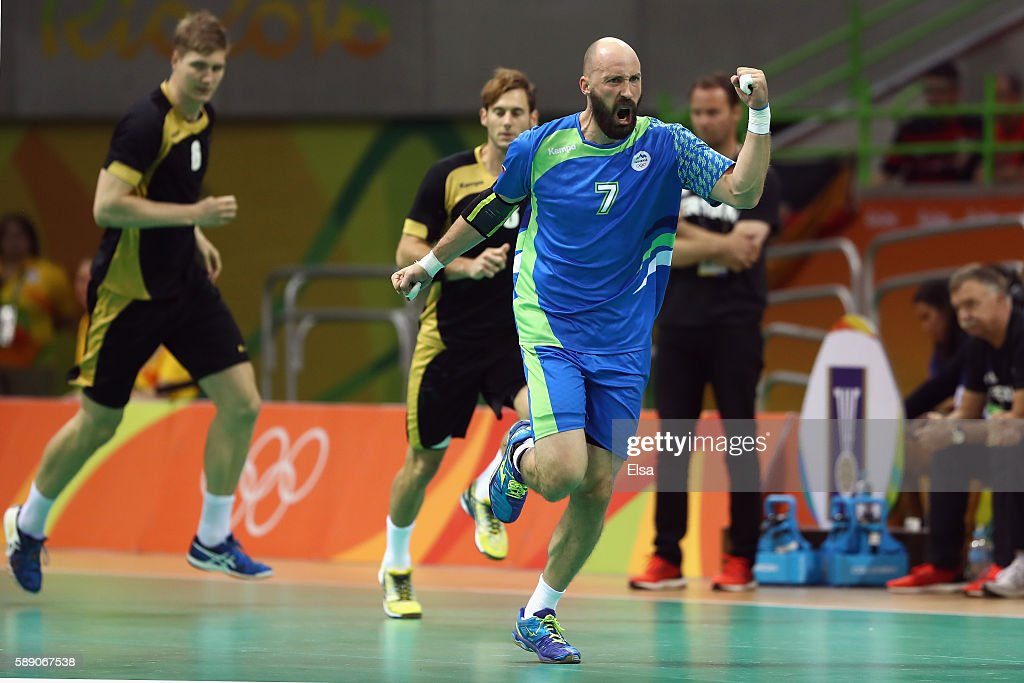 Vid Kavticnik of Slovenia celebrates during the Men's Handball preliminary Group B match between Slovenia and Germany on Day 8 of the Rio 2016...