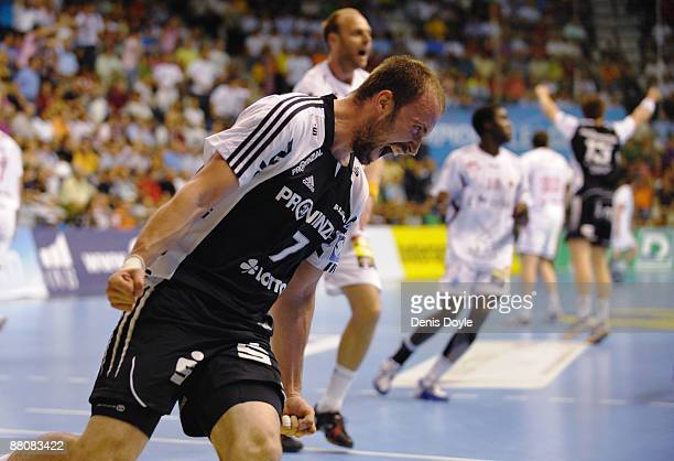 Vid Kavticnik of THW Kiel celebrates after scoring a goal against Ciudad Real during the EHF Champions League Final second leg match between Ciudad...