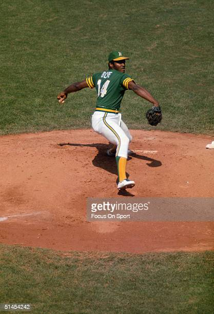 Vida Blue of the Oakland Athletics pitches on the mound during the World Series against the Los Angeles Dodgers at Dodger Stadium on October 1974 in...