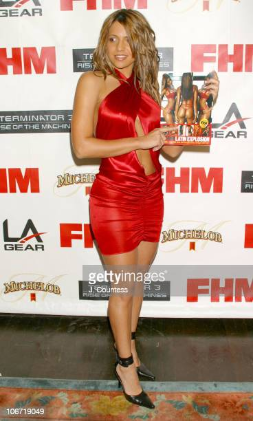 Vida Guerra displays her layout in FHM during Kristanna Loken and FHM Magazine Celebrate Release of 'Terminator 3 Rise of the Machines' DVD at...