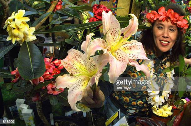 Vida 'Izza' CohenSchorin from Big Island Plants in San Diego CA displays one of her many stargazer lilies March 14 2001 at the Chicago Flower Garden...