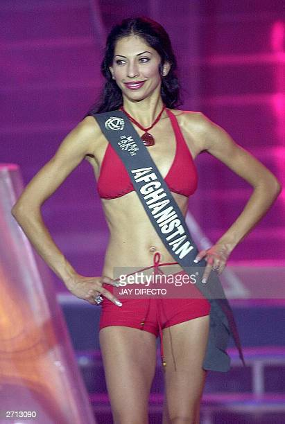 Vida Samadzai of Afghanistan poses during the 2003 Miss Earth contest in Manila 09 November 2003 Samadzai who is the first representative from...
