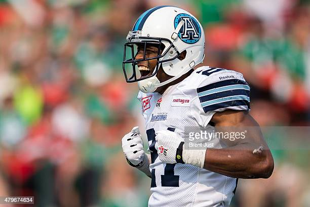 Vidal Hazelton of the Toronto Argonauts celebrates after a touchdown in the game between the Toronto Argonauts and Saskatchewan Roughriders in week 2...