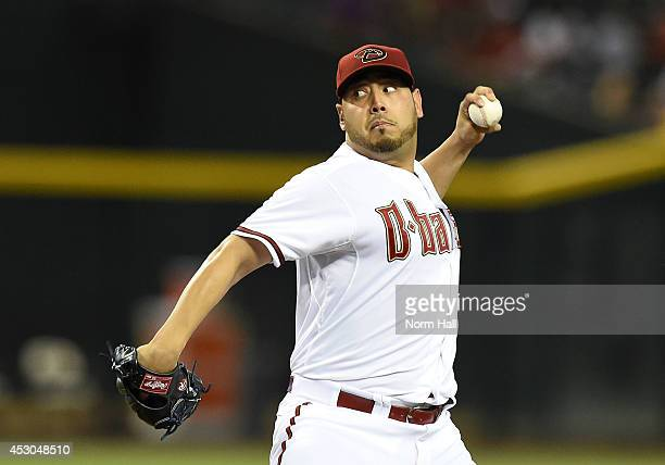 Vidal Nuno of the Arizona Diamondbacks delivers a first inning pitch against the Pittsburgh Pirates at Chase Field on August 1 2014 in Phoenix Arizona
