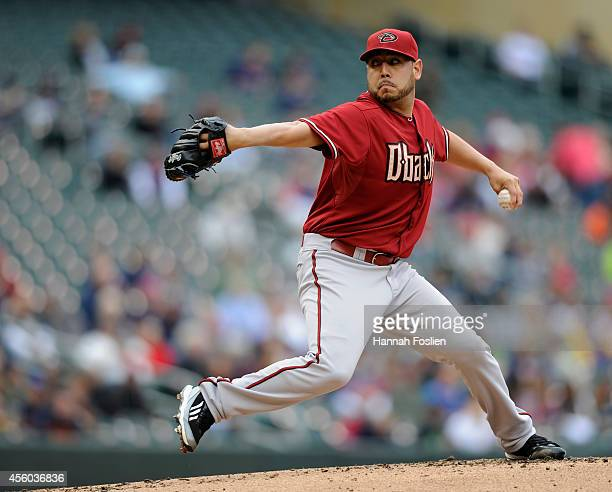 Vidal Nuno of the Arizona Diamondbacks delivers a pitch against the Minnesota Twins during the first inning of the game on September 24 2014 at...