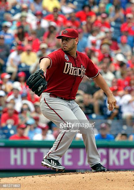 Vidal Nuno of the Arizona Diamondbacks during a game against the Philadelphia Phillies at Citizens Bank Park on July 27 2014 in Philadelphia...