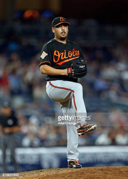 Vidal Nuno of the Baltimore Orioles pitches against the New York Yankees at Yankee Stadium on April 28 2017 in the Bronx borough of New York City The...