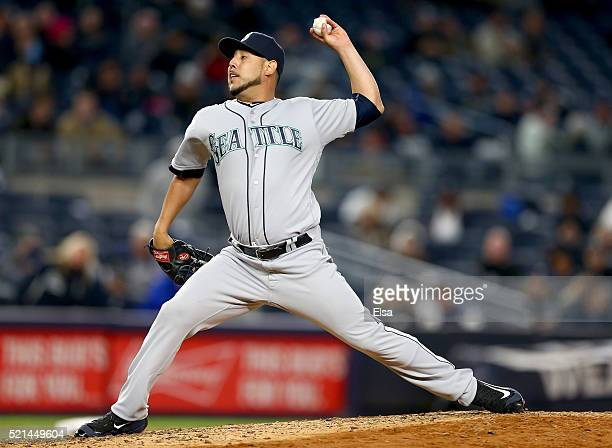 Vidal Nuno of the Seattle Mariners delivers a pitch in the sixth inning against the New York Yankees at Yankee Stadium on April 15 2016 in the Bronx...
