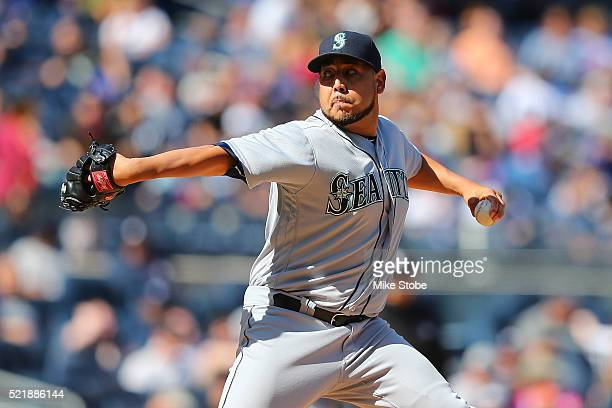 Vidal Nuno of the Seattle Mariners in action against the New York Yankees at Yankee Stadium on April 16 2016 in the Bronx borough of New York City...