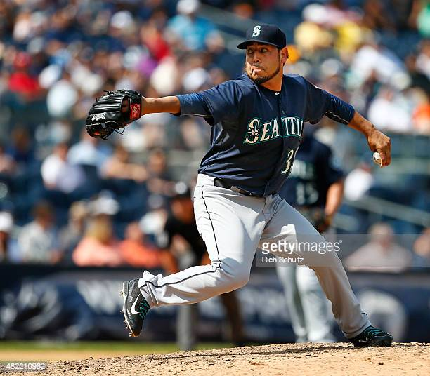 Vidal Nuno of the Seattle Mariners in action against the New York Yankees in a MLB baseball game against the New York Yankees at Yankee Stadium on...
