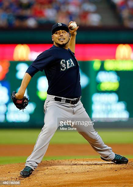 Vidal Nuno of the Seattle Mariners pitches against the Texas Rangers at Globe Life Park in Arlington on September 19 2015 in Arlington Texas