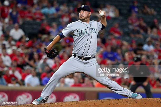 Vidal Nuno of the Seattle Mariners pitches against the Texas Rangers in the bottom of the seventh inning at Globe Life Park in Arlington on August 30...
