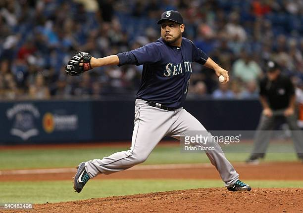 Vidal Nuno of the Seattle Mariners pitches during the sixth inning of a game against the Tampa Bay Rays on June 15 2016 at Tropicana Field in St...