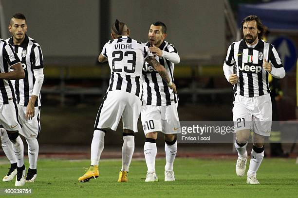 Vidal of Juventus celebrated the goal 02 during the Serie A match betweeen Cagliari Calcio and Juventus FC at Stadio Sant'Elia on December 18 2014 in...