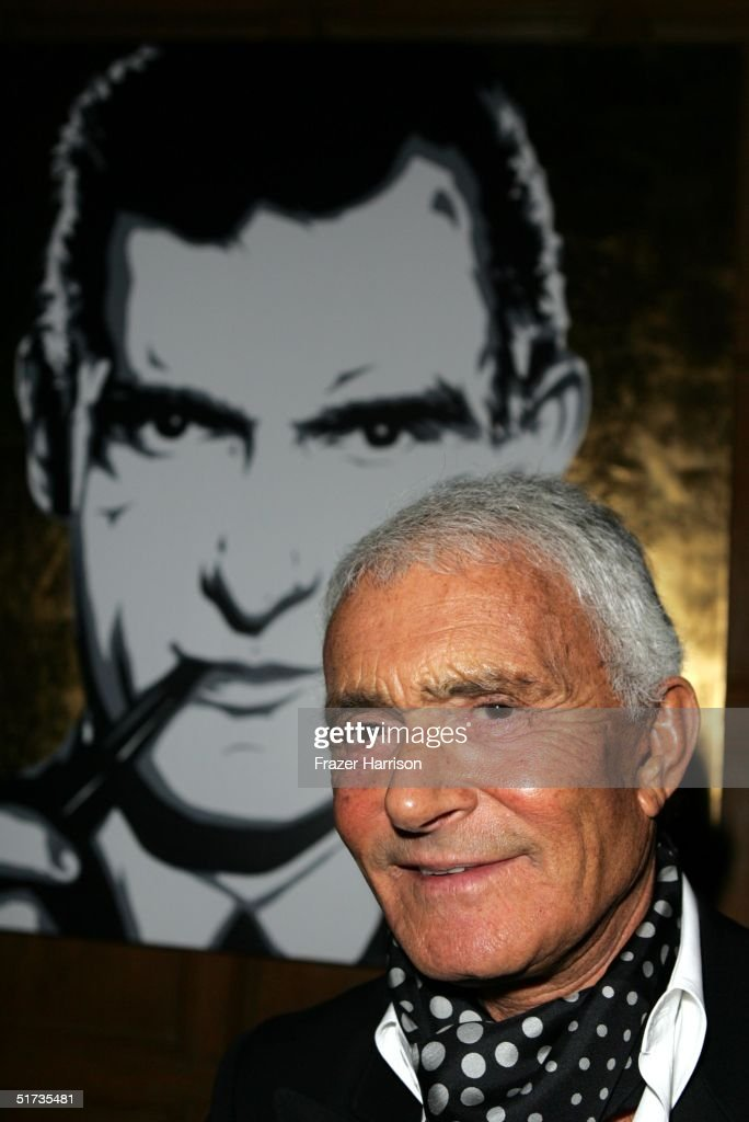 Vidal Sassoon poses at the Yves Saint Laurent Grand classics Screening of 'Sweet Smell of Sucess' hosted by Ben Stiller and Christine Taylor at the Playboy Mansion on November 11, 2004 in Bel Air, California.