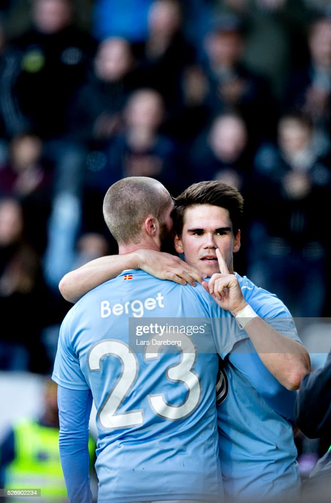 Vidar Orn Kjartansson of Malmo FF celebrate after his 3-0 goal during the Allsvenskan match between Malmo FF and BK Hacken at Swedbank Stadion on May 1, 2016 in Malmo, Sweden.