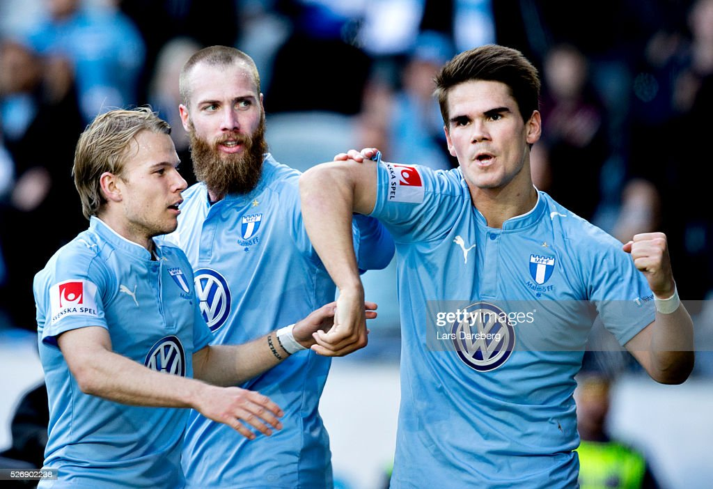 Vidar Orn Kjartansson of Malmo FF celebrate after his 3-0 goal, here with Oscar Lewicki of Malmo FF and Jo Inge Berget of Malmo FF during the Allsvenskan match between Malmo FF and BK Hacken at Swedbank Stadion on May 1, 2016 in Malmo, Sweden.
