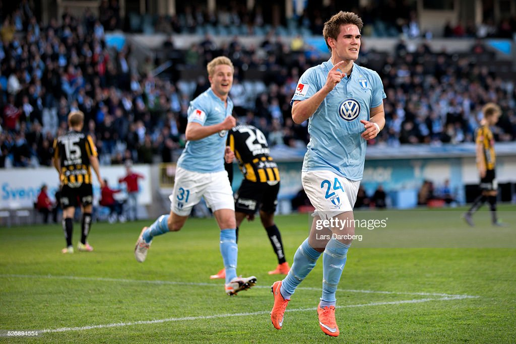 Vidar Orn Kjartansson of Malmo FF celebrate his 2-0 goal during the Allsvenskan match between Malmo FF and BK Hacken at Swedbank Stadion on May 1, 2016 in Malmo, Sweden.