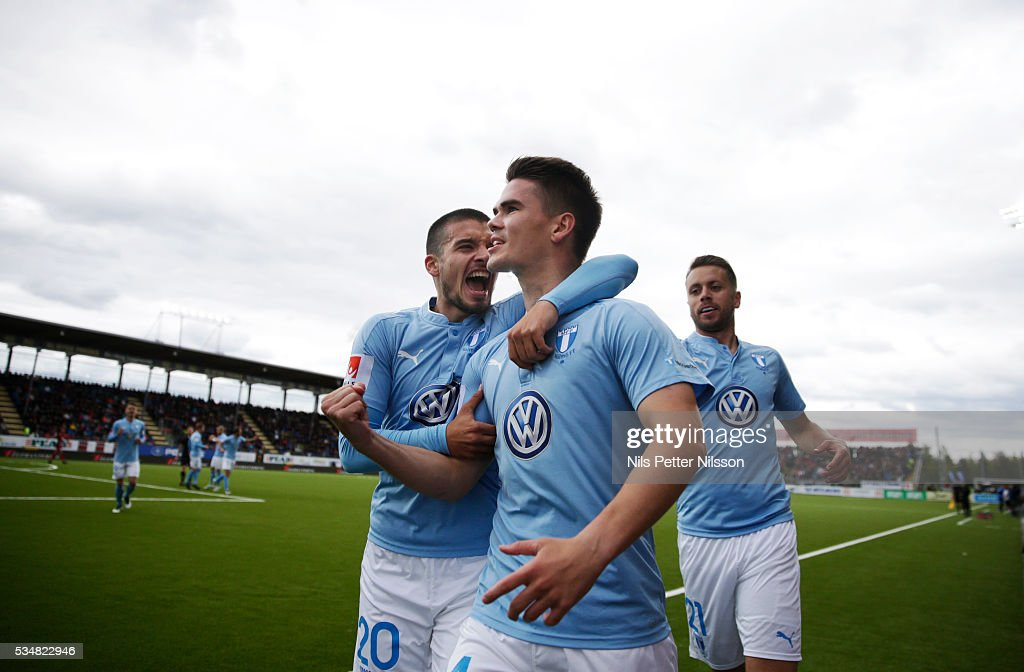 Vidar Orn Kjartansson of Malmo FF celebrates after scoring to 0-2 during the Allsvenskan match between Ostersunds FK and Malmo FF at Jamtkraft Arena on May 28, 2016 in Ostersund, Sweden.