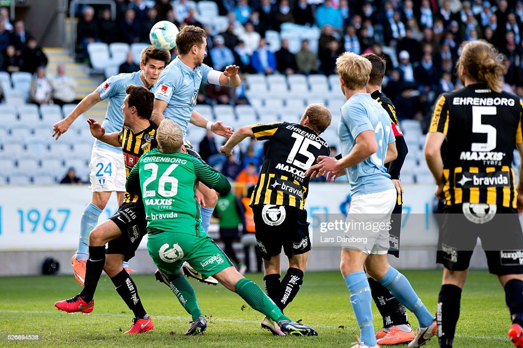 Vidar Orn Kjartansson of Malmo FF is scoring 1-0 to Malmo FF during the Allsvenskan match between Malmo FF and BK Hacken at Swedbank Stadion on May 1, 2016 in Malmo, Sweden.