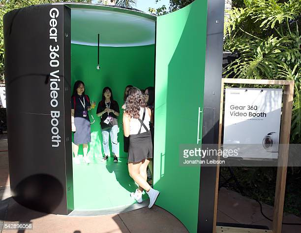 VidCon attendees experience Samsung Gear 360 at the Samsung Creator's Lounge at VidCon 2016 on June 23 2016 in Anaheim California