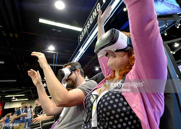 VidCon attendees experience Samsung Gear VR at The Samsung Experience At VidCon 2016 on June 23 2016 in Los Angeles California