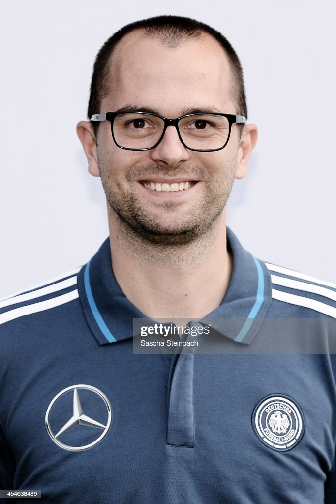Video analyst Jannis Scheibe poses during the U19 Germany team presentation at Sportpark Hoehenberg on September 4, 2014 in Cologne, Germany.