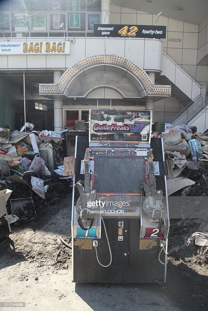 A video arcade machine left in the rubble destroyed by the earthquake on April 4,2011, in Kamaishi City,Japan. These objects are from the 30 000 victims of the earthquake that hit Japan on March 11, 2011 followed by an tsunami.