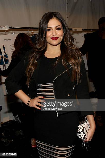 Video blogger Bethany Mota poses backstage at the Rebecca Minkoff fashion show with TRESemme during MercedesBenz Fashion Week Fall 2015 at The...