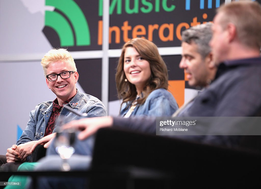 Video blogger Tyler Oakley, actress/comedian Grace Helbig, tv personality Andy Cohen and online personality Ze Frank speak onstage at 'Super Fandom in the Digital Age' during the 2014 SXSW Music, Film + Interactive Festival at Austin Convention Center on March 7, 2014 in Austin, Texas.