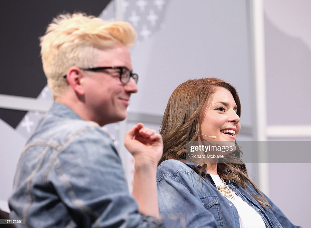 Video blogger Tyler Oakley and actress/comedian Grace Helbig speak onstage at 'Super Fandom in the Digital Age' during the 2014 SXSW Music, Film + Interactive Festival at Austin Convention Center on March 7, 2014 in Austin, Texas.