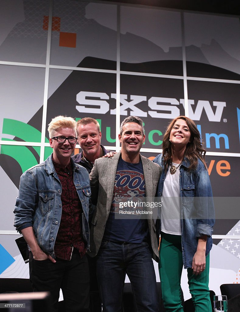 Video blogger Tyler Oakley, online personality Ze Frank, tv personality Andy Cohen and actress/comedian Grace Helbig speak onstage at 'Super Fandom in the Digital Age' during the 2014 SXSW Music, Film + Interactive Festival at Austin Convention Center on March 7, 2014 in Austin, Texas.