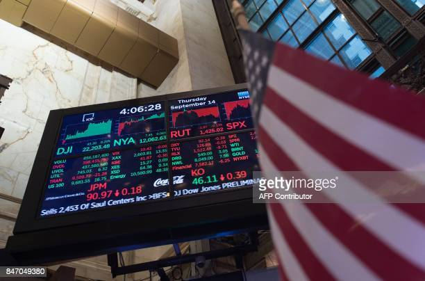 A video board display's the day's closing numbers on the floor after the closing bell of the Dow Industrial Average at the New York Stock Exchange on...