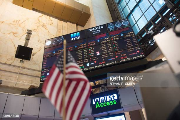 A video board is seen near the closing bell of the Dow Jones at the New York Stock Exchange March 6 2017 in New York / AFP PHOTO / Bryan R Smith