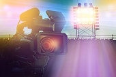 video camera camcorder in stadium for making sport news or live on TV