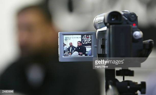 A video camera focuses on Anjem Choudary leader of radical Islamic group Al Muhajiroun during a conference September 11 2003 in London Al Muhajiroun...